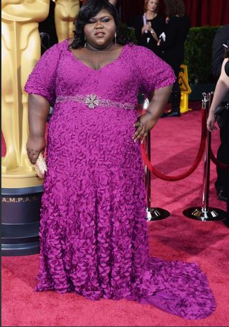Gabourey Sidibe , plus size gowns, radiant orchid